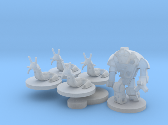 Cheese Golem, Ladybug, 4 Slugs - Mice & Mystics 3d printed