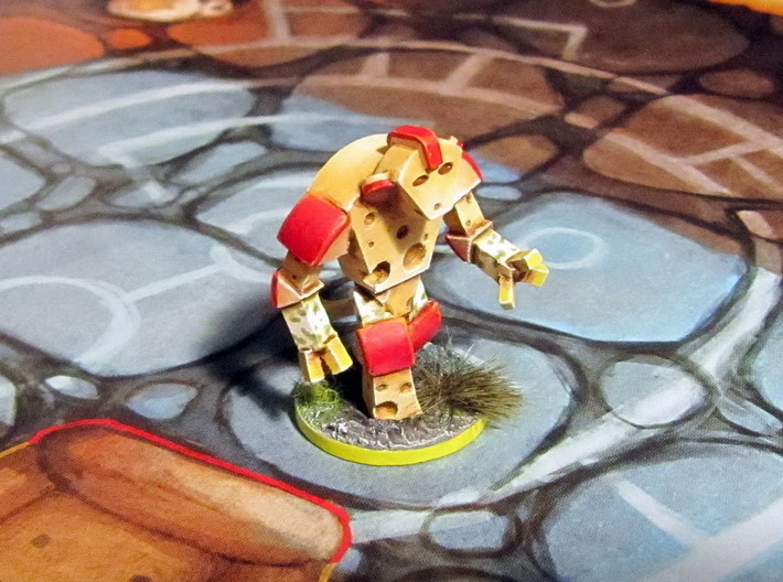 Cheese Golem, Ladybug, 4 Slugs 3d printed Golem model hand-painted, after quick filing. (game board with flagstones copyright Plaid Hat Games).