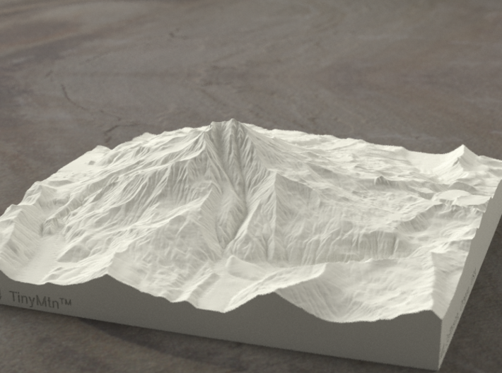 6'' Mt. Jefferson, Oregon, USA, Sandstone 3d printed Rendering of Mt. Jefferson model from the West side