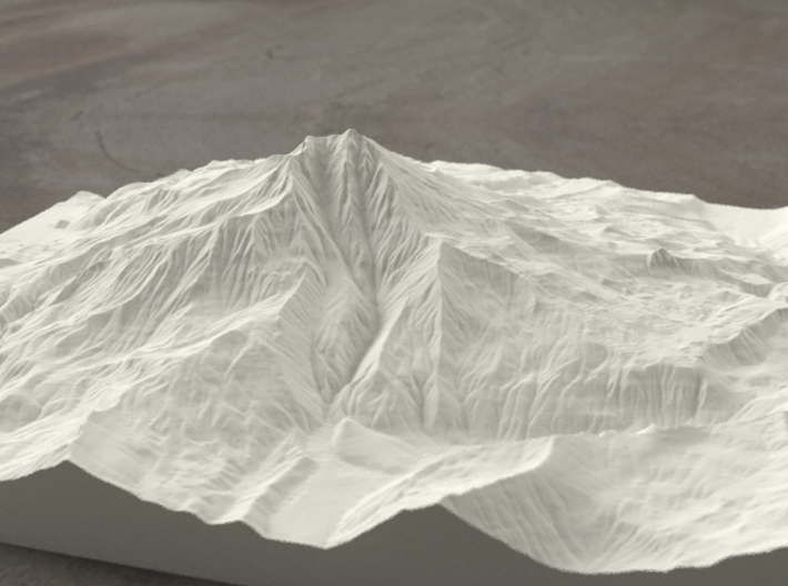 8'' Mt. Jefferson, Oregon, USA, Sandstone 3d printed Rendering of Mt. Jefferson model from the West side