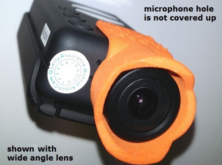 Mobius Action Cam Lens Hood V2.2 - FPV protection 3d printed lens hood does not cover the microphone hole