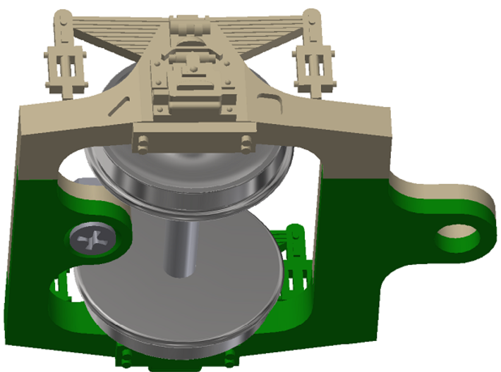 HO scale Hodges trailing truck for ATSF steam loco 3d printed wheelset & screw not included