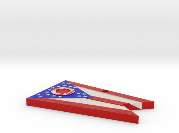 "Ohio state flag hanging necklace/accessory 2""x3"" 3d printed"
