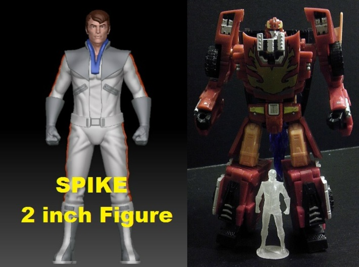 Spike homage Space Man 2inch Transformers Mini-fig 3d printed Size comparison of 2 inch Spike printed in clear Frosted Ultra Detail with Generations Deluxe Class Hotrod/Rodimus. Rodimus/Hotrod figure sold separately.