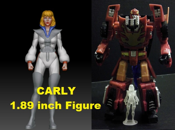 Carly homage Space Woman 1.89inch Transformers Min 3d printed Size Comparison of 1.89 inch Carly printed in Frosted Ultra Detial with a Generations Deluxe Class Hotrod/Rodimus. Hotrod/Rodimus figure sold separately.