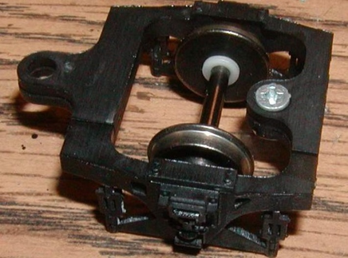HO scale Hodges trailing truck for ATSF steam loco 3d printed painted black bottom view
