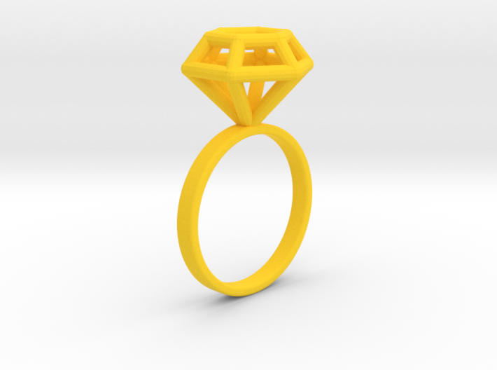 Wireframe Diamond Ring (size 7) 3d printed