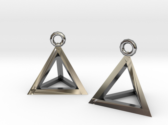 Tetrahedron earrings #Silver 3d printed