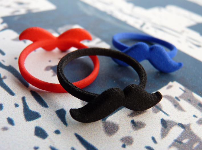 Ring Moustache Plastic 3d printed Strong & Flexible