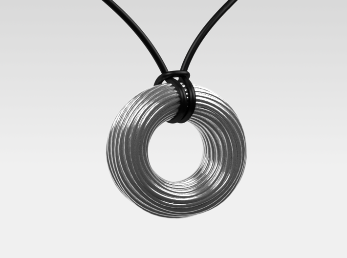 Twisted Ring Pendant - Part 1 3d printed Polished Silver