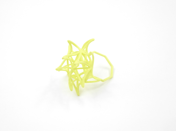 Aster Ring (Small) Size 6 3d printed Key Lime Nylon (Custom Dyed Color)