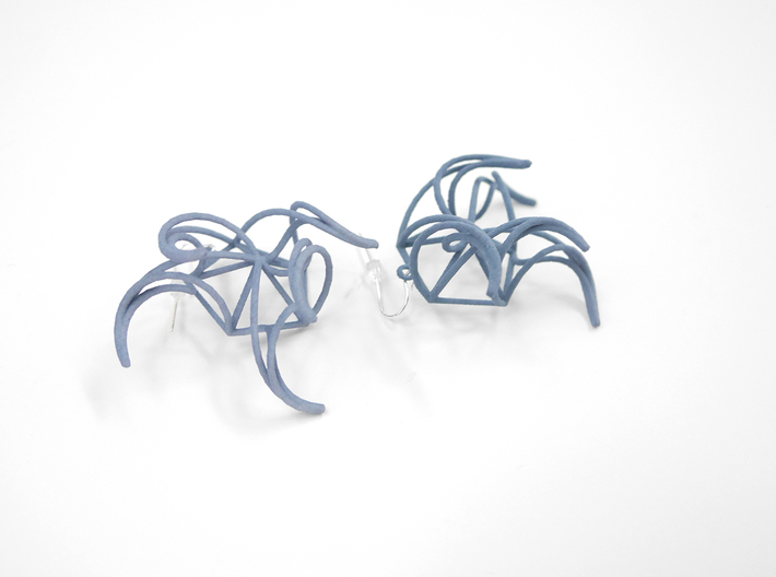 Aster Earrings 3d printed Azurite Nylon (Custom Dyed Color)