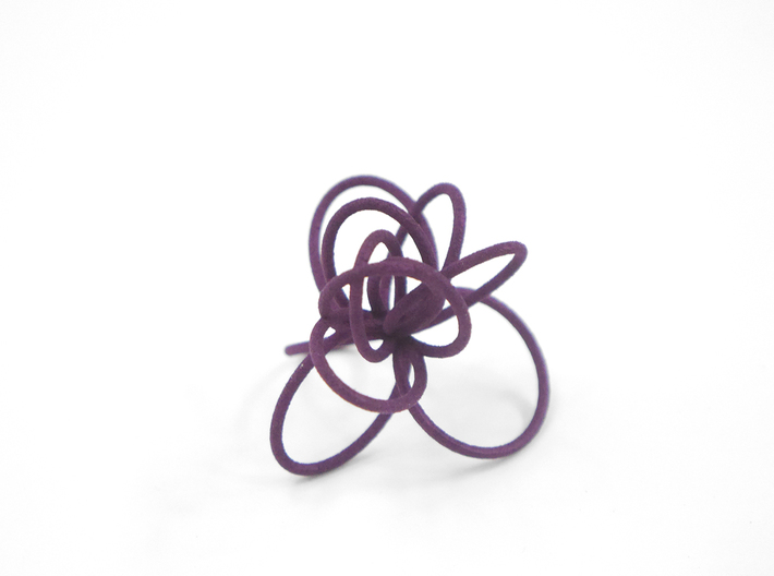 Flora Ring B (Size 7) 3d printed Eggplant Nylon (Custom Dyed Color)