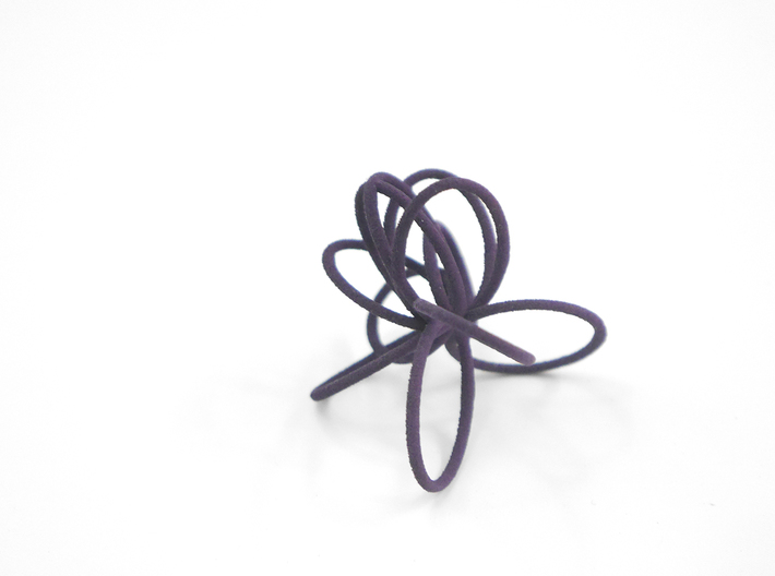 Flora Ring B (Size 9) 3d printed Midnight Nylon (Custom Dyed Color)