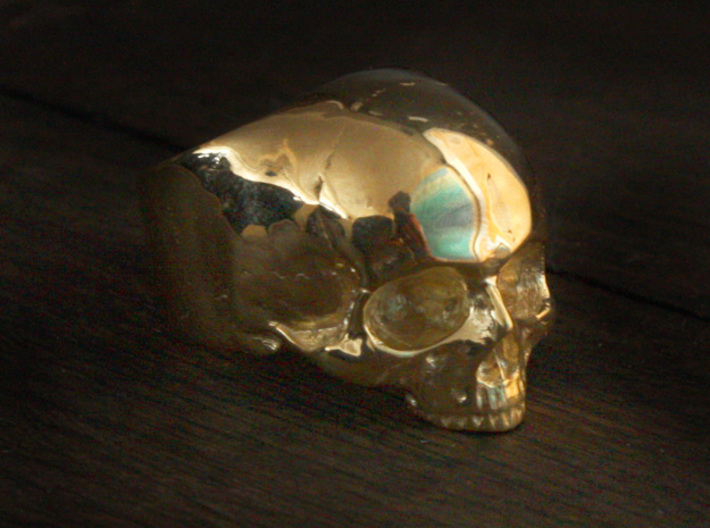Yorick Memento Mori Skull Ring size 6 3d printed Yorick skull ring in gold plated brass (now available in 14k & 18k gold plated)