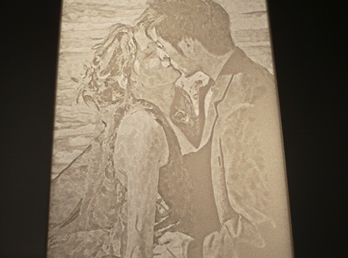 Lithophane picture with stand 3d printed With Backlight