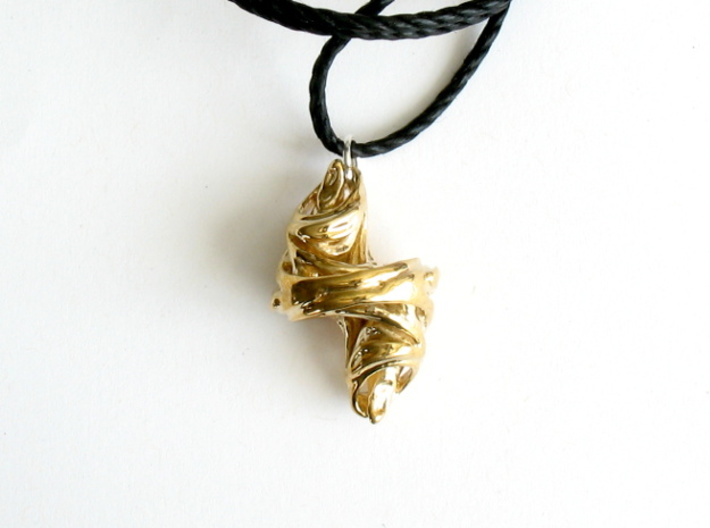 Julia Set Pendant 3d printed Printed in polished brass