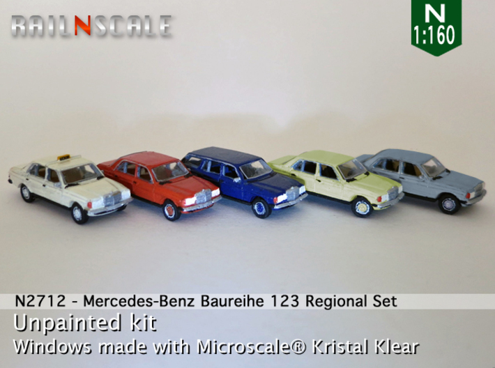 SET 5x Mercedes-Benz W123 - Regional set (N1:160) 3d printed