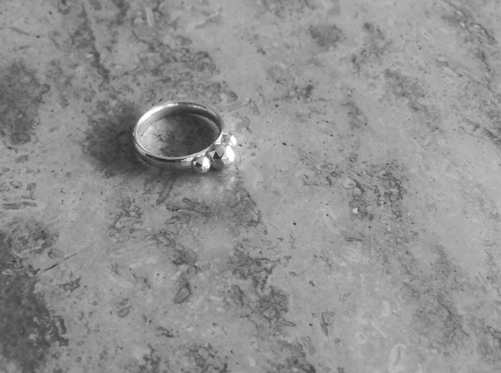 GeoJewel Ring US Size 6 UK Size M 3d printed Polished Silver GeoJewel Ring