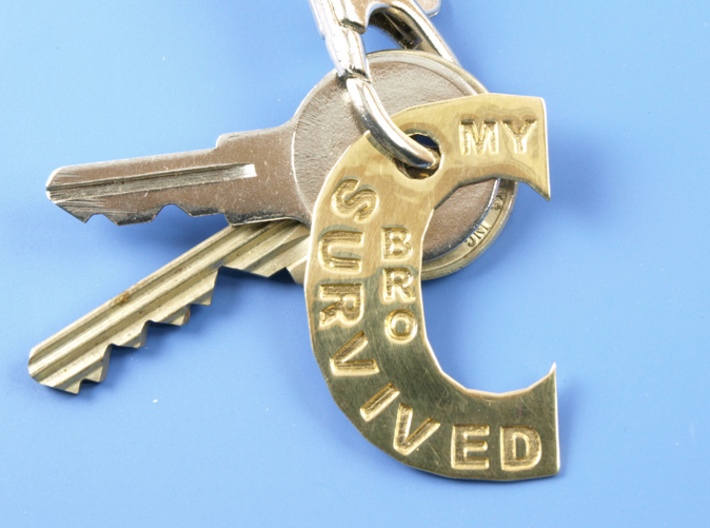 My Bro Survived The Big C Pin/Pendant/Fob Engraved 3d printed Polished Brass. Keys and latch not included.