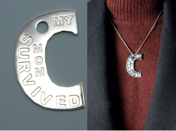 My Mom Survived The Big C Pin/Pendant/Fob Engraved 3d printed Polished Silver