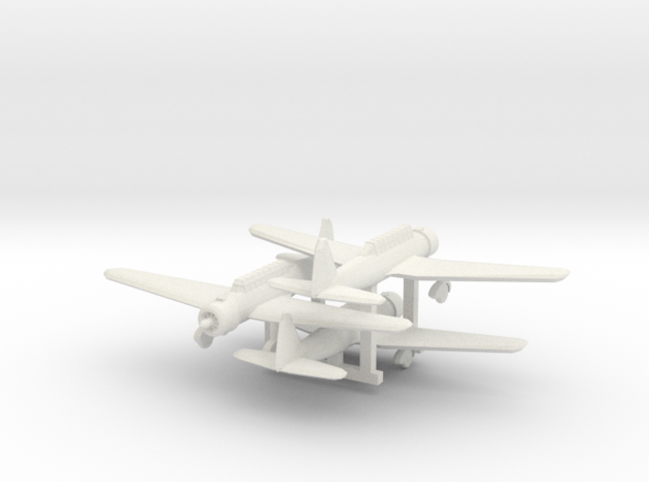 """1/300 Mitsubishi Ki30 """"Ann"""" 3d printed Painted models, propeller disks added from clear sheet."""