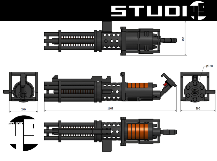 Z6 Rotary Blaster Cannon 5/10 3d printed