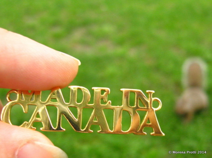 Made in CANADA Pendant 3d printed Gold Plated Brass (not anymore available)- squirrel not included ;-)