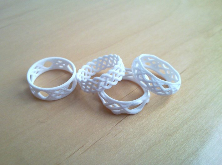 Celtic Ring - 16mm ⌀ 3d printed Various rings. Note only the Celtic Ring is included here.