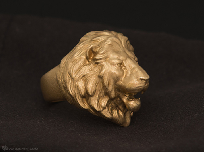 Lion Ring 3d printed Raw brass