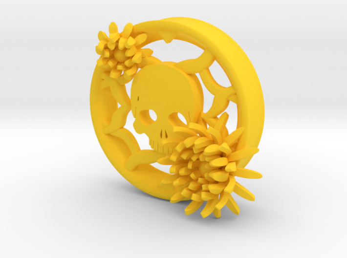 2 Inch Chrysanthemum And Skull Tunnel (left) 3d printed