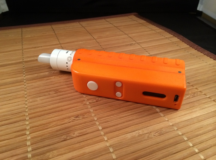 Design 2 - 18650 - Gripper Body 3d printed Polished Orange Body, Polished White Buttons and White Plume Veil RDA