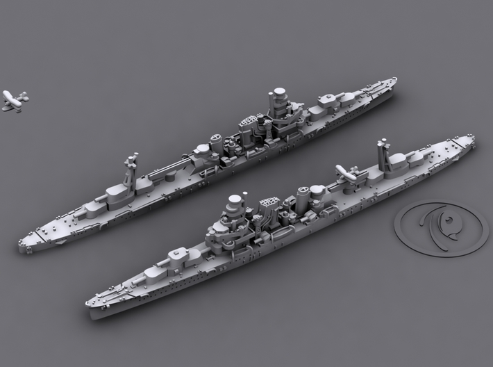 1/1800 IJN CA Kako[1935] 3d printed 3D software render, aircraft not included