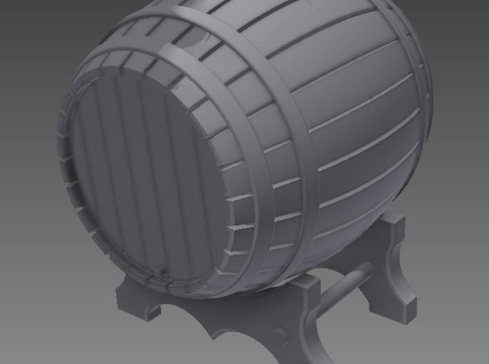 1/56th (28 mm) scale wooden barrel 3d printed Rendered image from the barrel assembly.