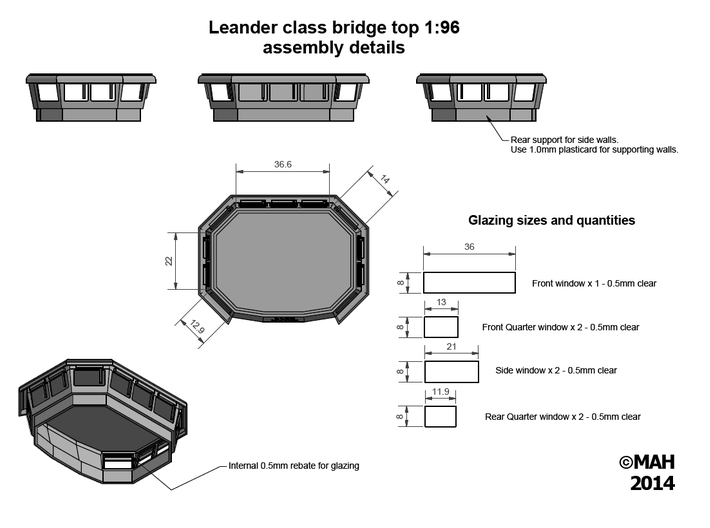 Leander Bridge top 1/96 3d printed