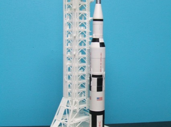 1/400 NASA LUT levels 0-2 (Launch Umbilical Tower) 3d printed A customers unfinished model with Saturn V & MLP (the MLP is for the1B).