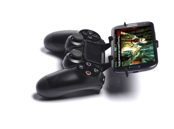 PS4 controller & Lava Iris X5 3d printed Side View - A Samsung Galaxy S3 and a black PS4 controller