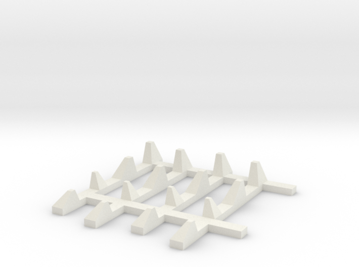 1-87 Scale Dragon Teeth Road Barrier Expansion 3d printed