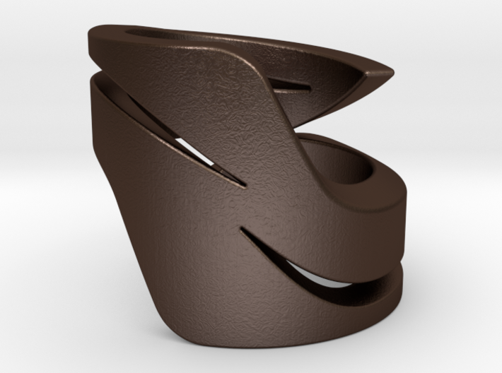 twirl - ring that twirl on your thumb 3d printed Matte Bronze Steel