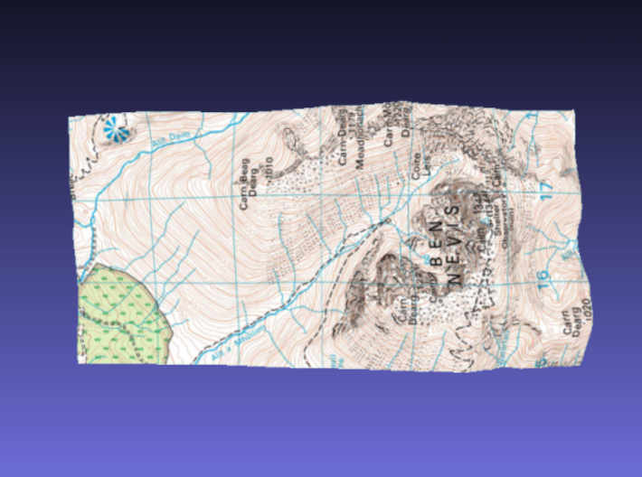Ben Nevis - Map 3d printed Surface of Ben Nevis - Map model