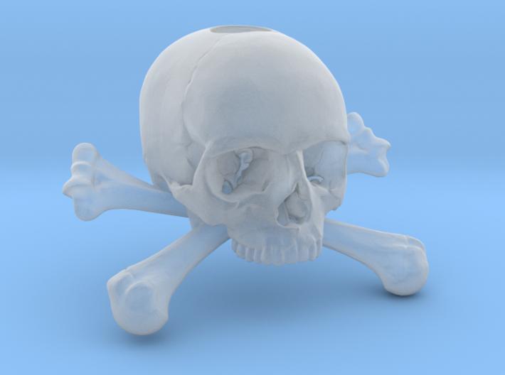 35mm 1.4in Keychain Skull & Bones Bead 3d printed