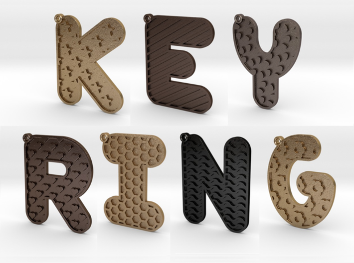 Patterned Letter Steel Keychain 3d printed Personalise - make sure to choose the finish you want.