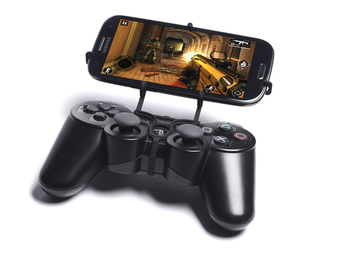 PS3 controller & Plum Trigger Plus 3d printed Front View - A Samsung Galaxy S3 and a black PS3 controller