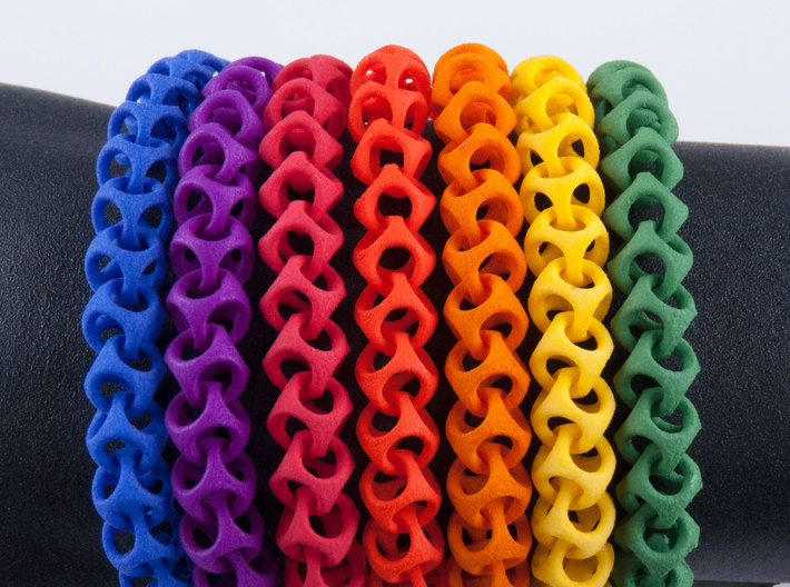 Cubichain Bracelet (Multiple sizes) 3d printed All the bright colors together