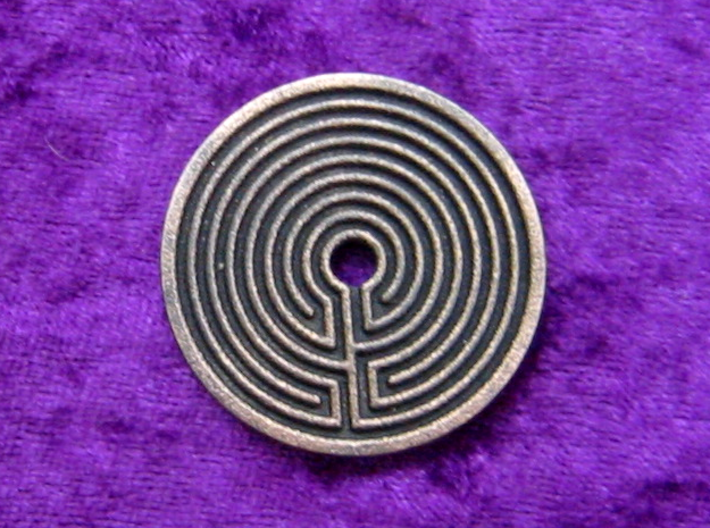 Labyrinth coin 3d printed Labyrinth side in polished grey steel.