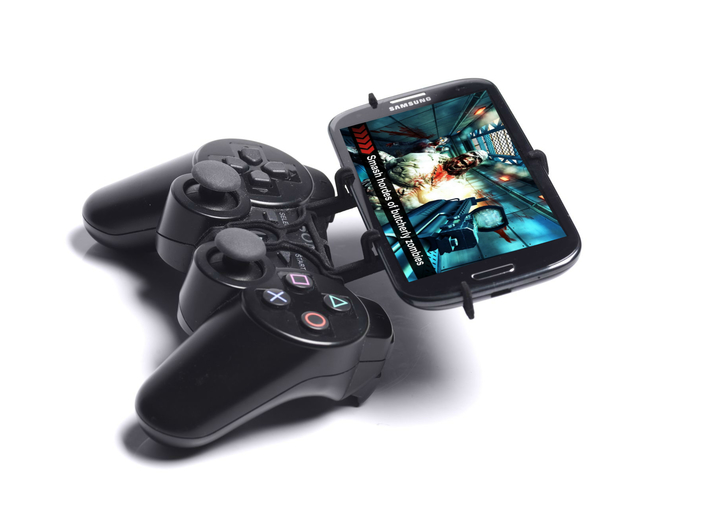 PS3 controller & Lava Iris 504q 3d printed Side View - A Samsung Galaxy S3 and a black PS3 controller