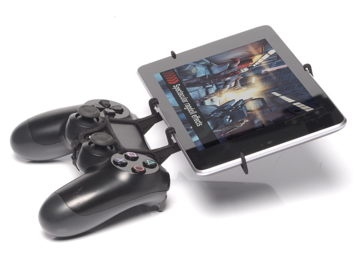 PS4 controller & Asus Transformer Book Trio 3d printed Side View - A Nexus 7 and a black PS4 controller
