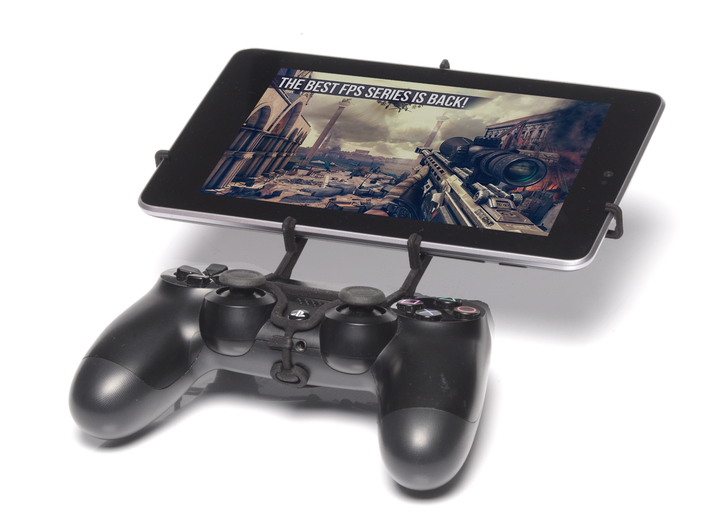 PS4 controller & Plum Link Plus 3d printed Front View - A Nexus 7 and a black PS4 controller