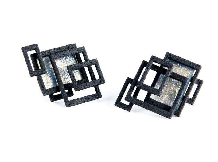 open square ear studs 3d printed Add a caption...
