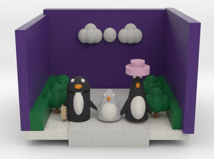 A Penguin Family Out For A Walk 3d printed